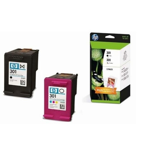 hp 301 twin pack black tricolor ink cartridges j3m81ae. Black Bedroom Furniture Sets. Home Design Ideas