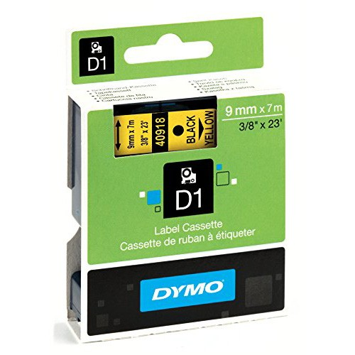 Dymo D1 Standard Labeling Tape 9x7M, Black/Yellow