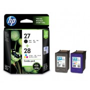 HP 27 Black and 28 Tri-color combo pack ink cartridge ( C8727AE , C8728AE )