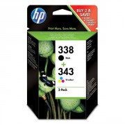 HP 338 Black/343 Tri-Colour 2-Pack Original Ink Cartridges - SD449EE